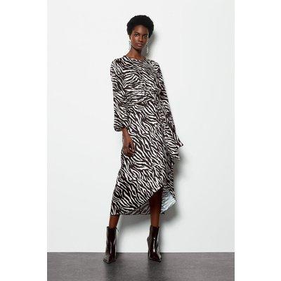Twist Satin Front Zebra Midi Dress Blackwhite, Blackwhite