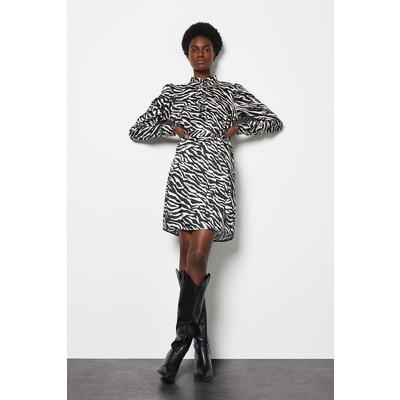 Ruffle Zebra Print Lined Dress Blackwhite, Blackwhite