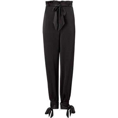 Paperbag Satin Trousers Black, Black