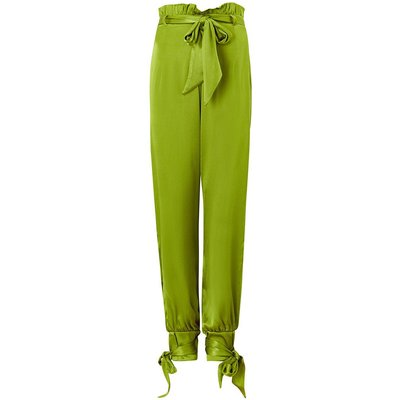 Paperbag Satin Trousers Green, Green