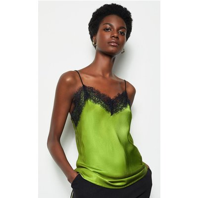 Satin Stretch Lace Cami Lime, Green