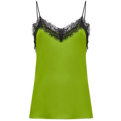 Satin Stretch Lace Cami Green, Green