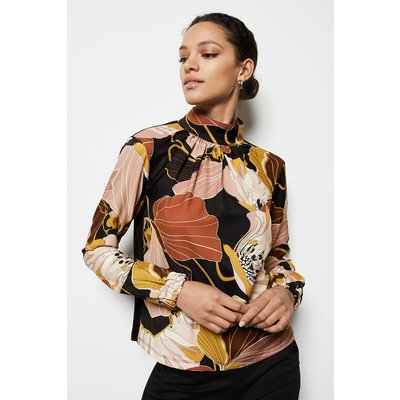 Karen Millen Floral Twill Pleated Front Blouse, Black
