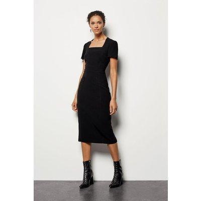 Multi Stitch Pencil Dress Black, Black