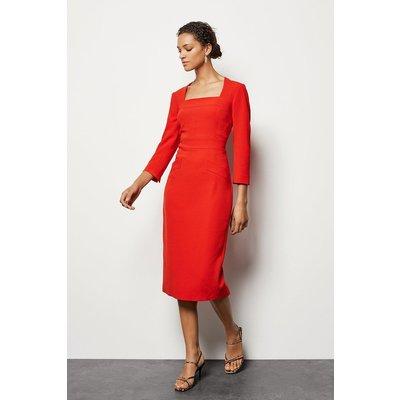Multi Stitch Pencil Dress Red, Red