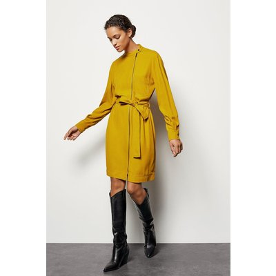 Zip-Front Belted Dress Yellow, Yellow/Mustard
