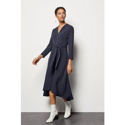 Pinstripe Belted Dress Navy, Navy