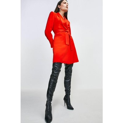 Tuxedo Wrap Dress Red, Red