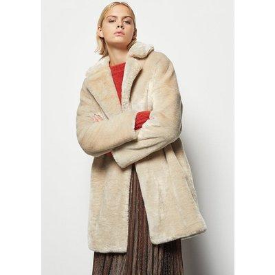 Tailored Faux Fur Coat Beige, Beige