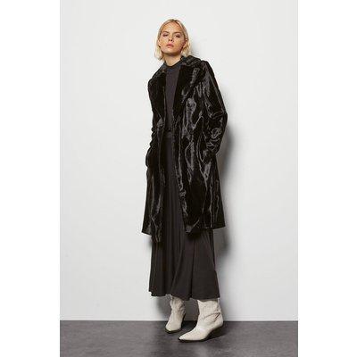 Faux-Fur Wrap Coat Black, Black
