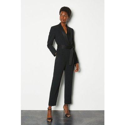 Tuxedo Wrap Jumpsuit Black, Black