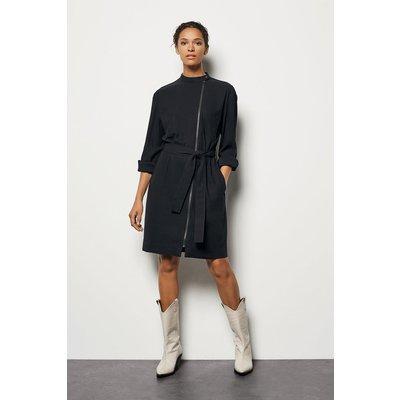 Zip-Front Shirt Dress Black, Black