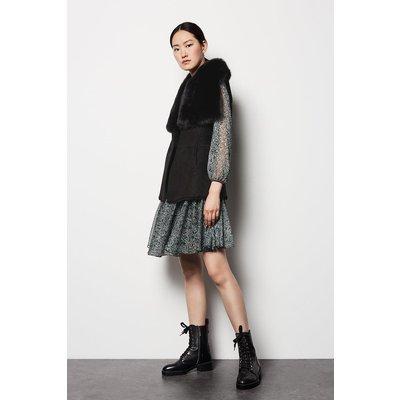 Karen Millen Sheepskin Reversible Oversized Collar Gilet, Black
