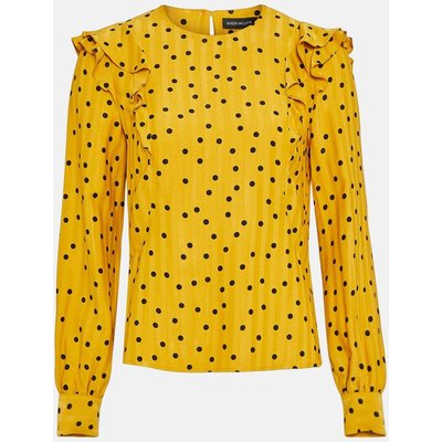 Scattered Dot On Stripe Top Yellow, Yellow/Mustard