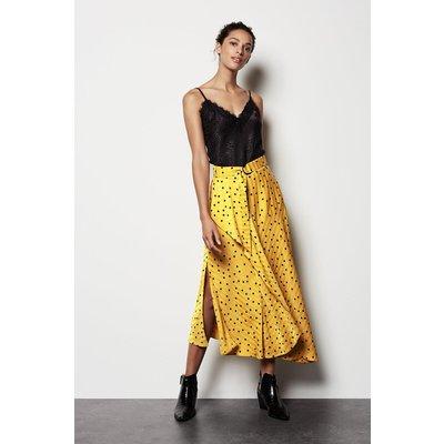 Scattered Dot On Stripe Skirt Yellow, Yellow/Mustard