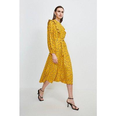 Scattered Dot On Stripe Dress Yellow, Yellow/Mustard