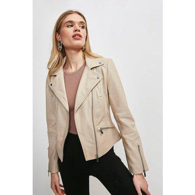 Karen Millen Leather Signature Biker Jacket -, Cream