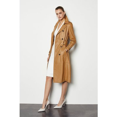 Leather Trench Coat Tan, Tan