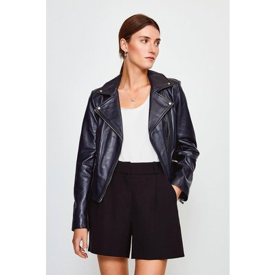 Karen Millen Leather Signature Biker Jacket, Navy
