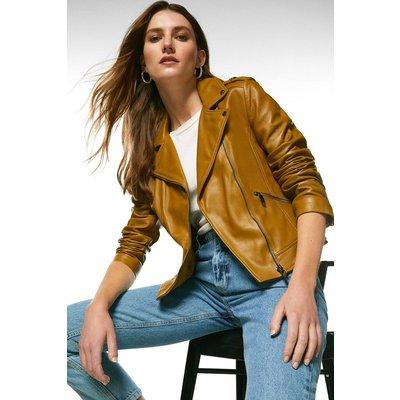 Karen Millen Leather Signature Biker Jacket -, Olive