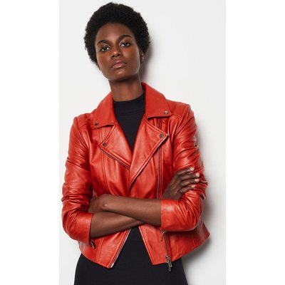 Karen Millen Leather Signature Biker Jacket, Red