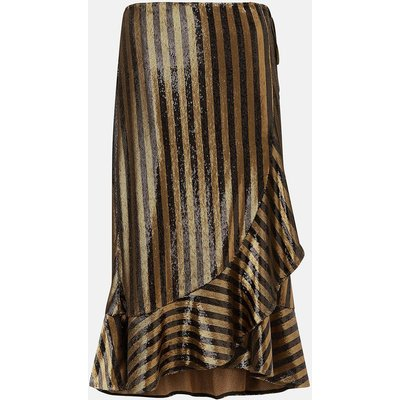 Stripe Sequin Wrap Skirt Gold, Gold