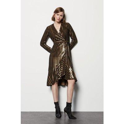 Karen Millen Stripe Sequin Long Sleeve Wrap Dress, Bronze