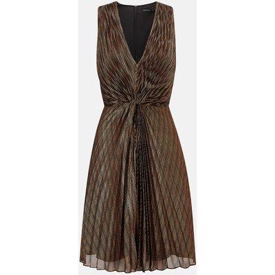 Metallic Pleated Short Sleeve Dress Bronze, Bronze