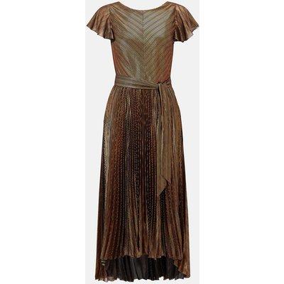 Karen Millen Metallic Pleated V Back Dress, Bronze