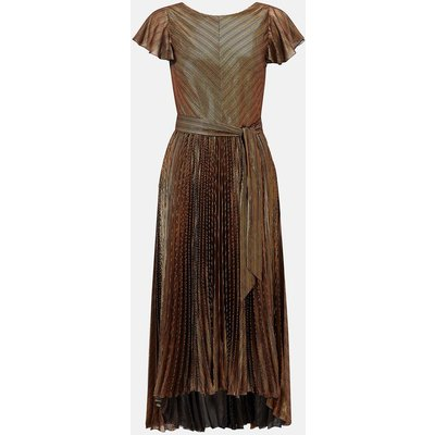 Metallic Pleated V Back Dress Bronze, Bronze