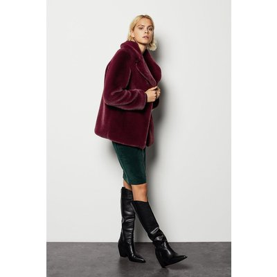Faux Fur Jacket Red, Red/Burgundy