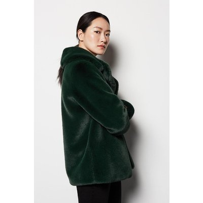 Faux Fur Jacket Green, Green