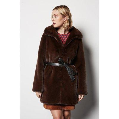 Belted Faux Fur Coat Brown, Brown