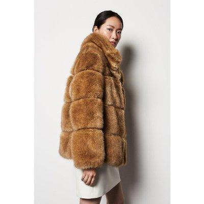Textured Stripe Faux Fur Jacket Brown, Brown