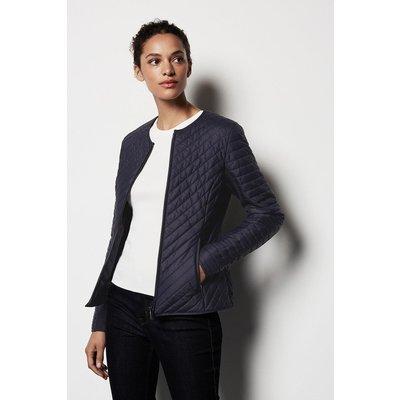Karen Millen Diagonal Quilt Jacket, Navy
