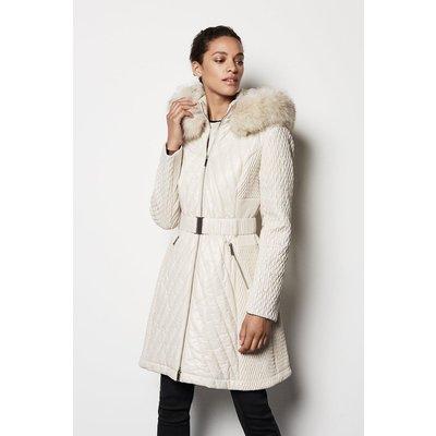 Multi-Directional Quilt Coat Ivory, Ivory