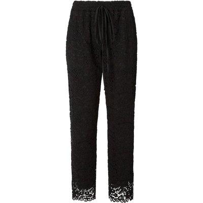 Lace Trouser Scallop Hem Black, Black