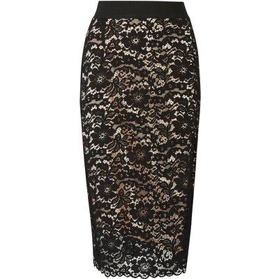 Midi Lace Contrast Skirt Black, Black