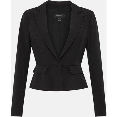 Tailored Crop Peplum Blazer Black, Black