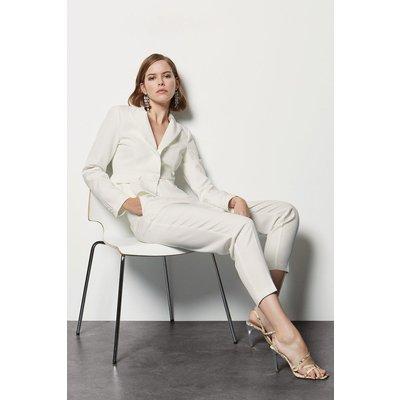 Tailored Crop Peplum Blazer White, White