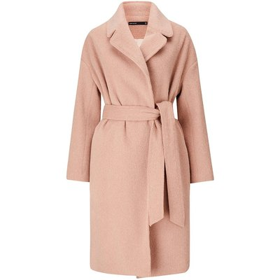 Belted Shawl Wrap Coat Pink, Pink