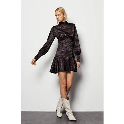 High Neck Fit & Flare Longsleeve Dress Black, Black