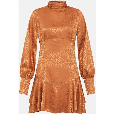 High Neck Fit & Flare Longsleeve Dress Tan, Tan