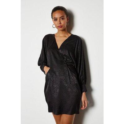 Wide Sleeve Leopard Satin Jaquard Dress Black, Black