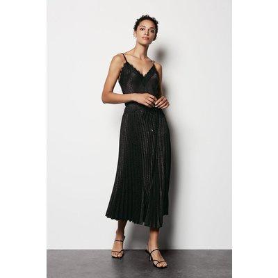 Plisse Midi Jaquard Skirt Black, Black