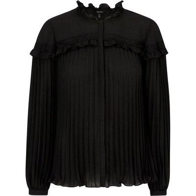 Lace and Pleat Ruffle Blouse Black, Black