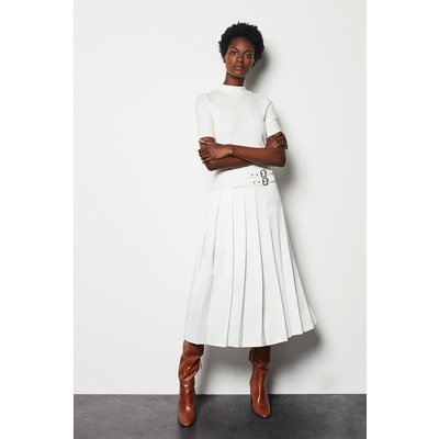 Wrap Pleat Skirt White, White