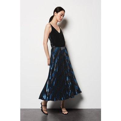 Metallic Velvet Maxi Skirt - Black, Black