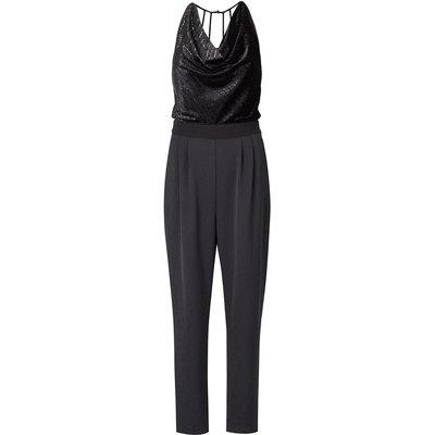 Metallic Cowl Jumpsuit Black, Black