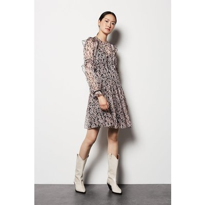 Floral Ruffle Sleeve Dress Pink, Pink
